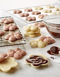 Neapolitan Spritz Sandwich Cookies Ground freeze-dried strawberries give the pink color and flavor to these vanilla, chocolate and strawberry sandwich spritz cookies. Spritz Cookies, Vanilla Cookies, Rolled Sugar Cookies, Ginger Cookies, Cookie Recipes, Dessert Recipes, Desserts, Recipe Land, Recipe Recipe