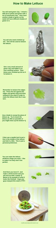 How to make polymer clay lettuce in miniature for dollhouse