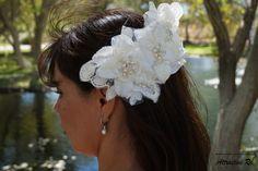 White Flower Hair Clips, Bridal Hair Accessories, Floral Combs, Rhinestone Hair Piece, Wedding, Bridesmaid Accessories, Hair Piece