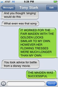 Someone just watched Tangled. :)))) Thor and ironman's texts hahaha