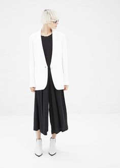 b8b5fd8052 Acne Studios Fearn Crepe Jacket (White) cool length on the jumpsuit