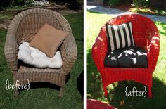 diy refurbished wicker red  black and white outdoor patio furniture