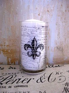 French Candle Holder, Fleur de Lis, French Decor, French Script, French Country Home love the Fleur de Lis..So classic.