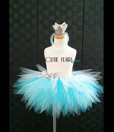 "Girls Tutu Skirt Set  - Frozen Tutu - Tutu skirt and Crown headband -  Birthday tutu - Sewn 10"" Tutu - size 2T - Ready to Ship!"