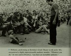 Robin Williams on tour in early 80s, in front a very much impressed kid