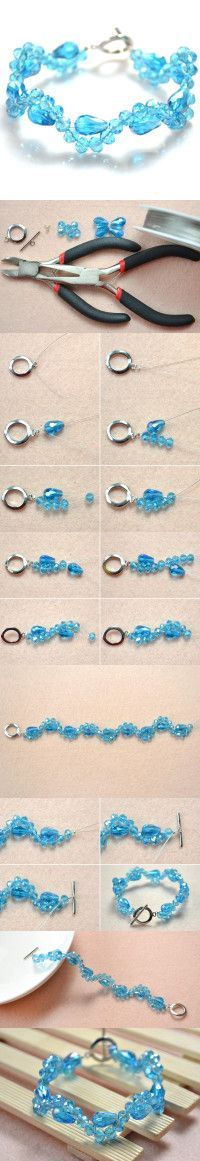 Simple Beaded Bracelet Patterns - How to Make a Crystal Beaded Bracelet with a Toggle Clasp
