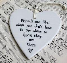 'Friends Are Like Stars' Ceramic Heart - wedding favours
