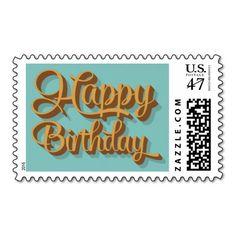 Retro Happy Birthday Postage Stamp | Birthday Card