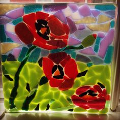 Poppies mosaic in fused glass