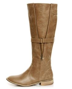 taupe vegan riding boots. love the loosened up look on these knee highs.