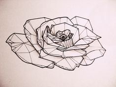 Rose, tattoo, low poly
