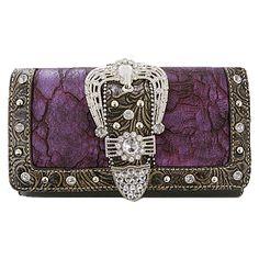 Buckle Belt Decorative Tri-fold Wallet