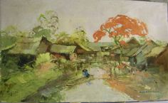 Vintage Laos Village Oil Painting Unframed offered by CraftiqueRedux, $49.00