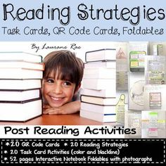 READING STRATEGIES: POST READING TASK CARDS, QR CODE CARDS, AND NOTEBOOK FOLDABLES from TeachToTell on TeachersNotebook.com -  (82 pages)  - This bundle of 20 Task Card, QR Code Cards, and 52 pages of notebook foldables with color photographs of assembly instructions is sure to equip your students with key reading skills.