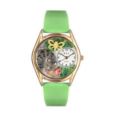 Whimsical Watches Healthcare Nurse Gift Accessories Cat Nap Green Leather And Goldtone Watch (1362-C-0120010)