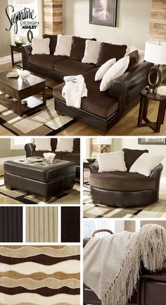 Sectionals - Living Room Furniture - Brown and Cream White Tan - Victory Sofa Sectional - Ashley Furniture
