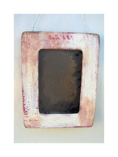 Rustic, primitive distressed antiqued accent mirror in distressed and crackled wood frame. Handcrafted. Find it at www.BusterJustis.Etsy.com