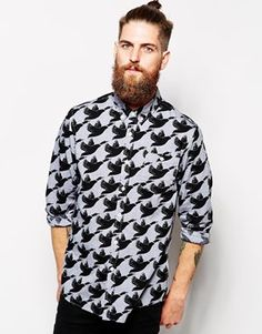 ASOS Oxford Shirt In Long Sleeve With Goose Print