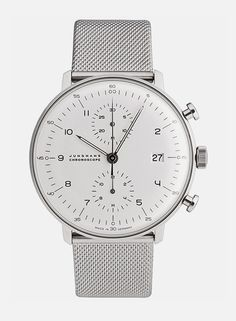 "Max Bill Chronoscope; from: Junghans; ""The only metal band watch acceptable for summer."" &:;"