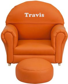 Flash Furniture SF-03-OTTO-OR-EMB-GG Personalized Kids Orange Vinyl Rocker Chair and Footrest