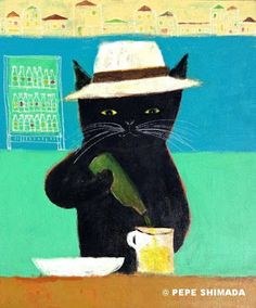 """""""Vacation of a Black Cat """" Arcylic on Canvas Artist Pepe Shimada Copyright © PEPE SHIMADA All Rights Reserved"""
