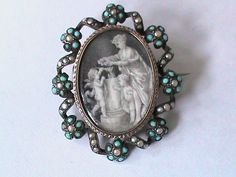 Antique Silver Turquoise & Pearl Sepia Mourning Brooch Locket