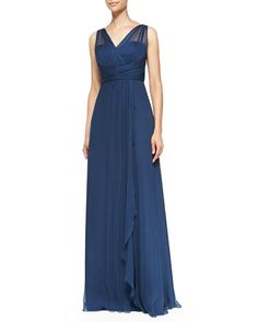Amsale Mesh Overlay Pleated Bodice gown in Fr Blue