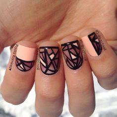 Negative space manicure in peach and black: