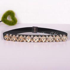 Dreamlan Women Cummerbunds Stunning Dot Square Crystal Beaded Belts Crystal Champagne Beaded Sash Belt for Women Belts DF377