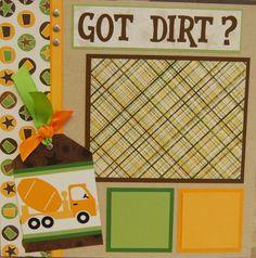 Boy scrapbook layout - dirt and construction
