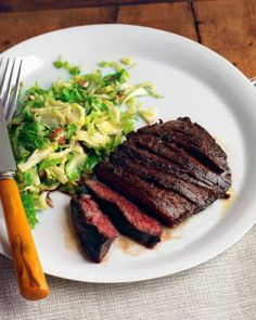 Seared Steak with Brussel Sprouts and Almonds Recipe