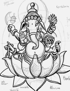 Ganesh Sketch sitting on lotus Ganesh Tattoo, Hindu Tattoos, Symbolic Tattoos, Cover Up Tattoos, Arm Tattoos, Body Art Tattoos, Sleeve Tattoos, Tatoos, Ganesha Drawing