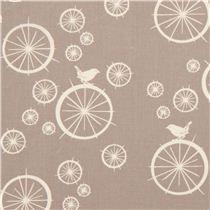 grey birch organic fabric Birdie Spokes with wheels bird  - Dots, Stripes, Checker - Fabric