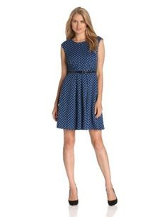 0d4b1e91afa0 Maggy London Women s Small Dot Belted Jacquard Dress Ladies Of London