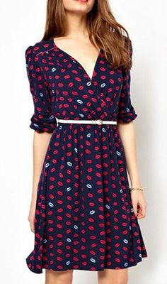 Cute Cheap Middle sleeve V neck red lip dress 5761 - Short-Sleeve Online Shopping Free Shipping