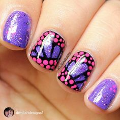 repost via @instarepost20 from @devilishdesigns1 My #maniswap #soloshot with @polish.me.ree i had to improvise with the purple glitter because i didnt have one to match hers this is two coats of a light purple by #lacolors with one coat of #laquerlicious Indian summer over it. The pink dots are #pipedreampolish On The List this caught my eye the second i saw it and i fell in love. It's so different  #featuremynails #freehandnailart #nails2inspire #nailpolish #nailaddict #nailartoohlala…