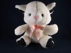 Kids of America Plush Stuffed White Lamb Pink Bow EC Animal Black Feet | eBay