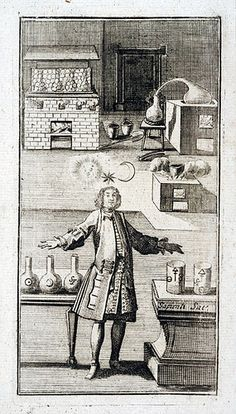 Alchemist in his laboratory 18th century