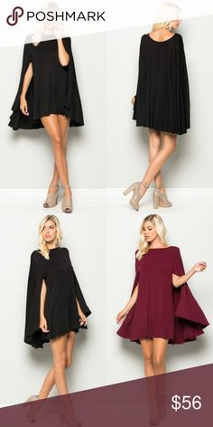 """Black Mini Cape Dress New with tags. Black knit mini cape dress, soft material. Model is 5'10"""", with a 32"""" bust, 24"""" waist, 34"""" hips, and is wearing a size small. Also available in burgundy, listed separately.                     🌸95% rayon, 5% spandex.                                                🌸Made in USA.                                                           🌺PRICE IS FIRM UNLESS BUNDLED.                       ❌SORRY, NO TRADES. Boutique Dresses Mini"""