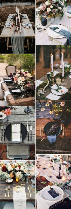 romantic and moody wedding table centerpieces ideas