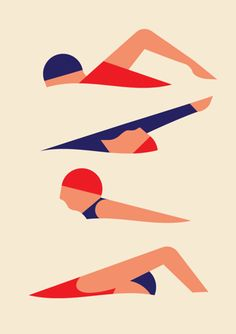 Swimmers. art. illustration. By Robert Bailey