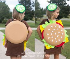 Make A Quick and Easy, No Sew, Cheeseburger Costume! Food Costumes For Kids, Purim Costumes, Easy Diy Costumes, Unique Halloween Costumes, Last Minute Halloween Costumes, Cute Costumes, Costume Ideas, Crochet Baby Hat Patterns, Crochet Baby Hats