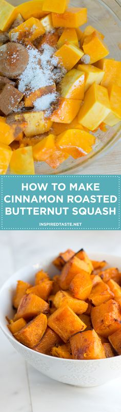 Butternut squash is roasted until tender and lightly caramelized. Cinnamon and cayenne add warmth while brown sugar sweetens things up a little. Recipe on inspiredtaste.net | @inspiredtaste