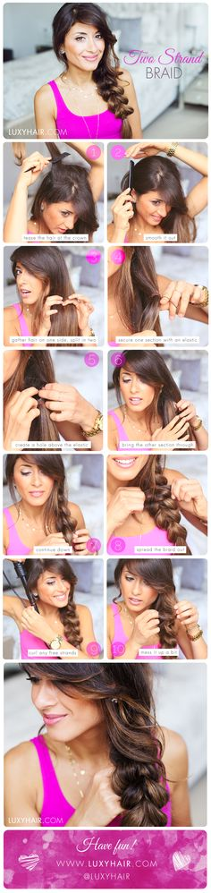 Easy Two Strand Braid Hairstyle  See the video tutorial here: https://www.youtube.com/watch?v=MGVyxKUpSWQ  Luxy Hair, Mimi Ikonn, braid, DIY, cute and easy hairstyle