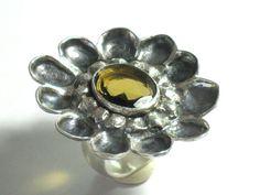 Boho Chic Ring-Citrine Silver Ring-Statement by rioritajewelry