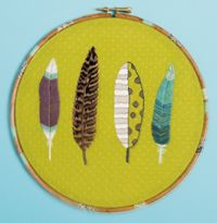feather embroidery, I love the colours and patterns in this.