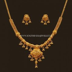 Latest Gold Necklace Set Designs With Price ~ South India Jewels Gold Set Design, Gold Chain Design, Gold Jewellery Design, Gold Designs, Gold Jewelry Simple, Simple Necklace, Bridal Necklace Set, Bridal Jewelry, Gold Earrings Designs