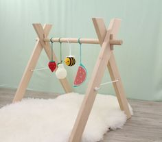 Wooden baby gym with 4 toys, game room, activity center, nursery decor, crochet . Top 3 of 2019 - Baby July 2019 Baby Decor, Nursery Decor, Nursery Room, Newborn Gifts, Baby Gifts, Baby Bottle Storage, Montessori, Crochet Baby Toys, Play Gym