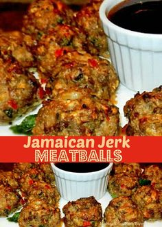 Jamaican Jerk Meatballs (non-keto side note: they can be served on Hawaiian rolls) Jamaican Cuisine, Jamaican Dishes, Jamaican Recipes, Beef Recipes, Cooking Recipes, Healthy Recipes, Jamaican Appetizers, Meatball Recipes, Jamaican Chicken