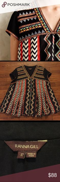 • RANNA GILL for ANTHROPOLOGIE • patterned top Gently worn Ranna Gill for Anthropologie patterned top. Gorgeous embroidered detail, flowy & feminine. Size 12. Fits like a L. Feel free to make an offer! Remember to bundle & save 15%! ❤️ Anthropologie Tops Tees - Long Sleeve